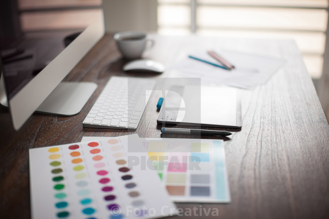"""Designer's workspace with bokeh"" stock image"