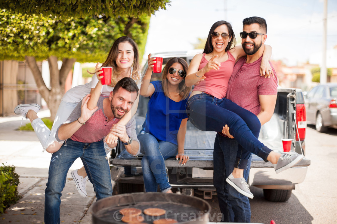 """Friends fooling around and having fun"" stock image"