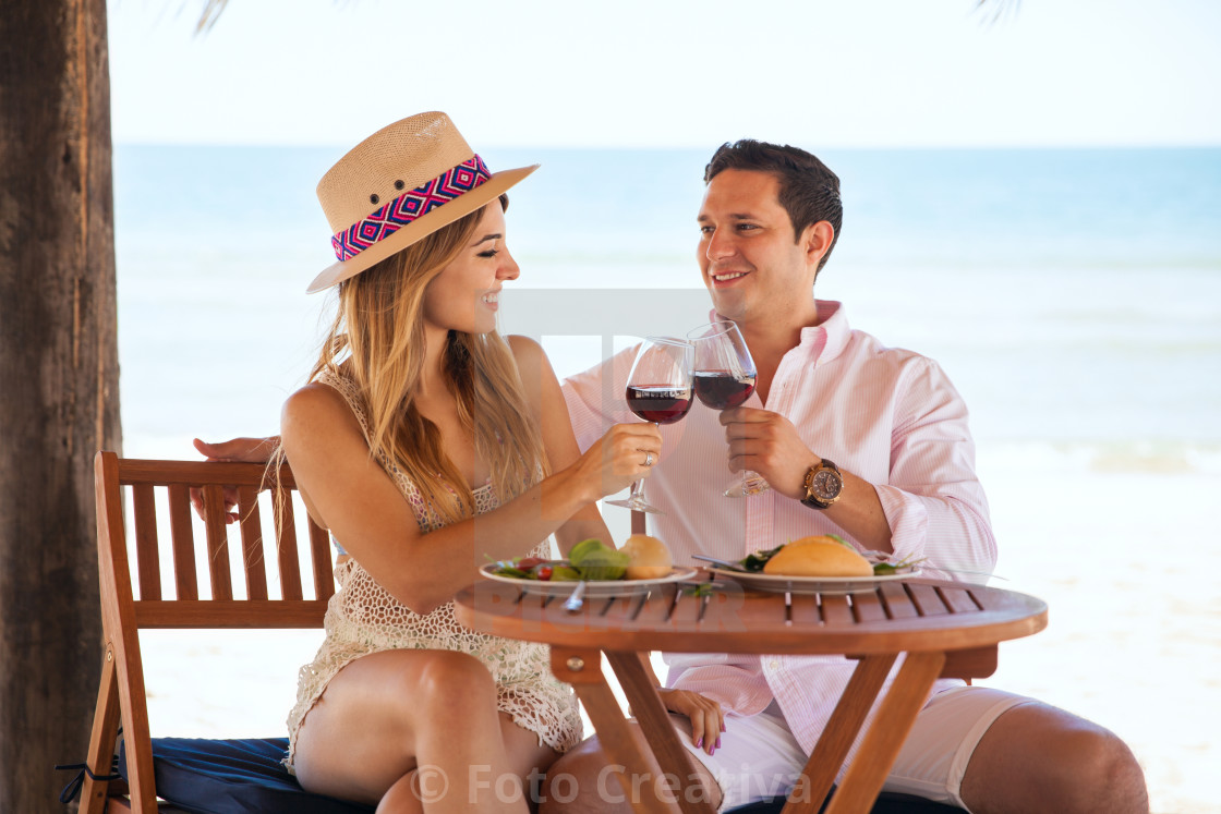 """Couple celebrating their anniversary at the beach"" stock image"