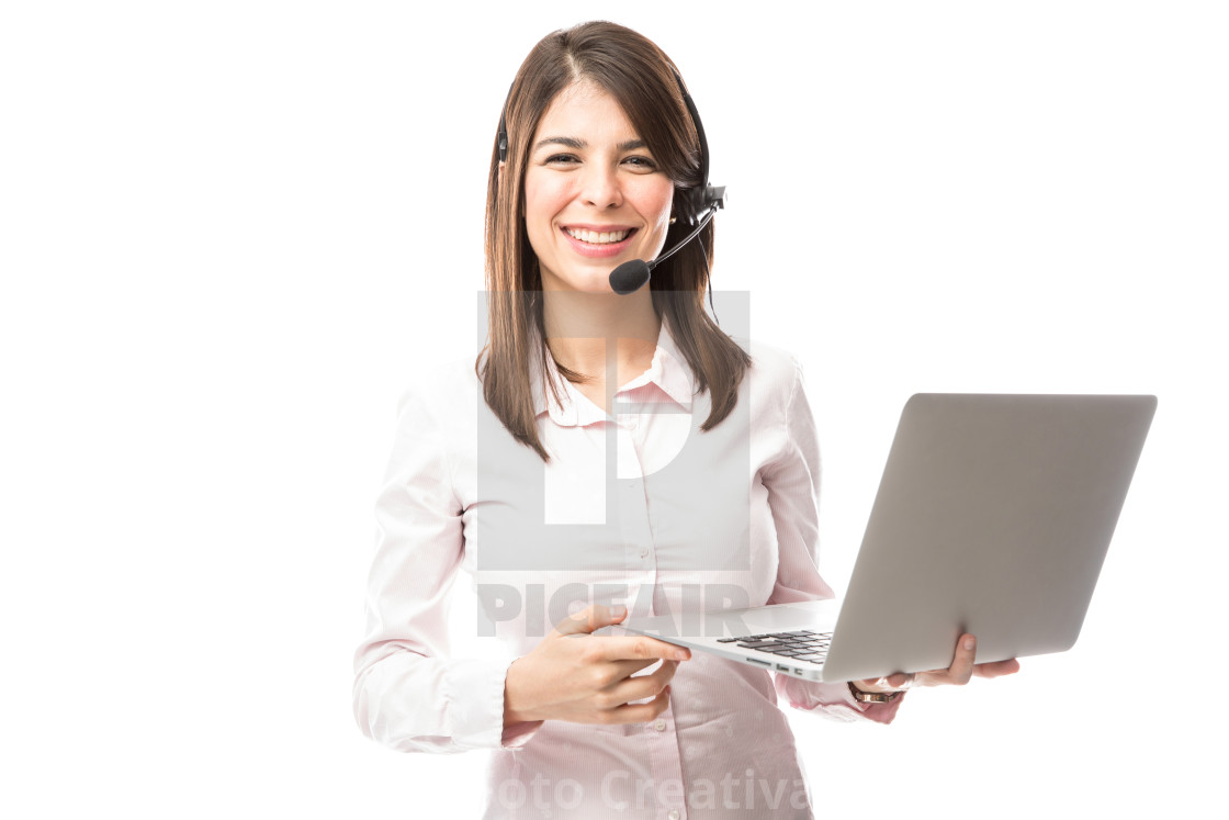 """Nerdy girl working for tech support"" stock image"