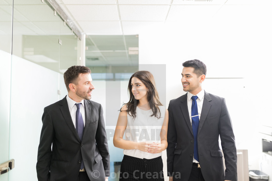 """Discussing Business Matters While Walking In Office"" stock image"