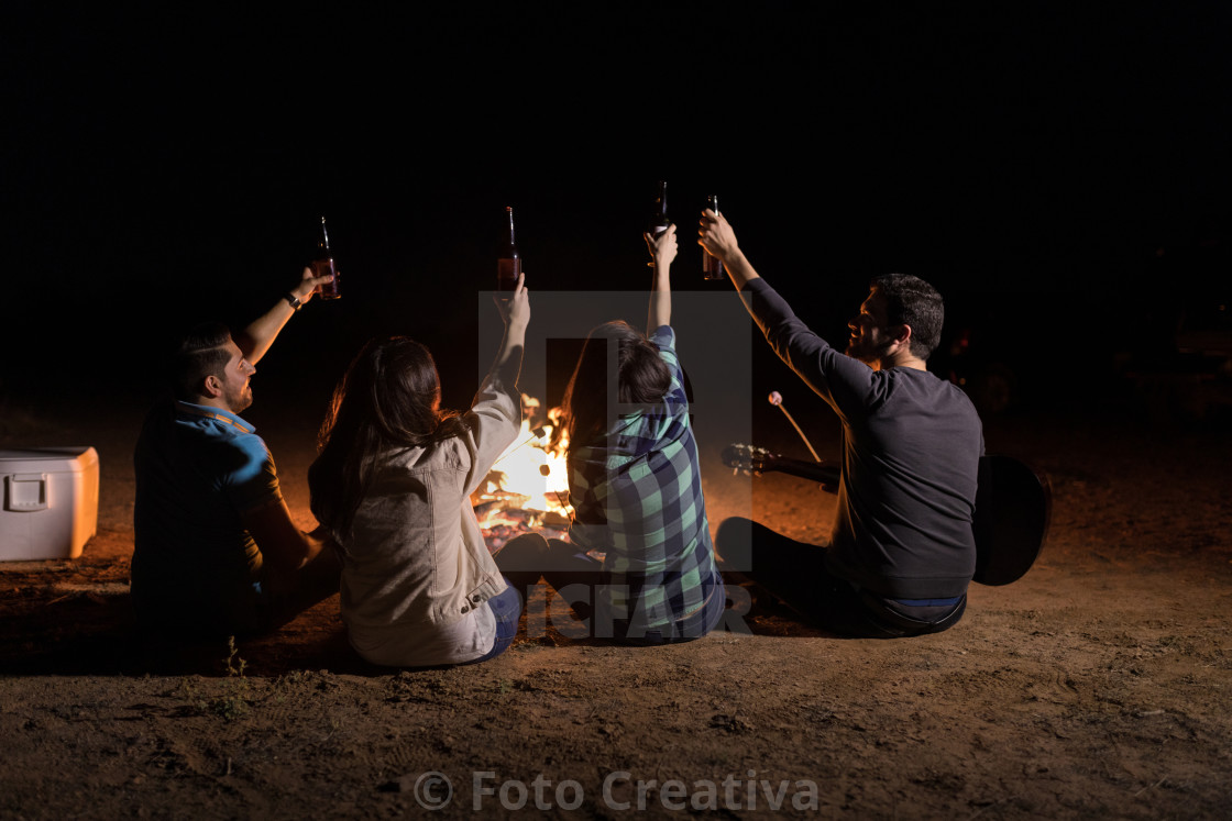 """Pals Enjoying Bonfire Party With Beer"" stock image"