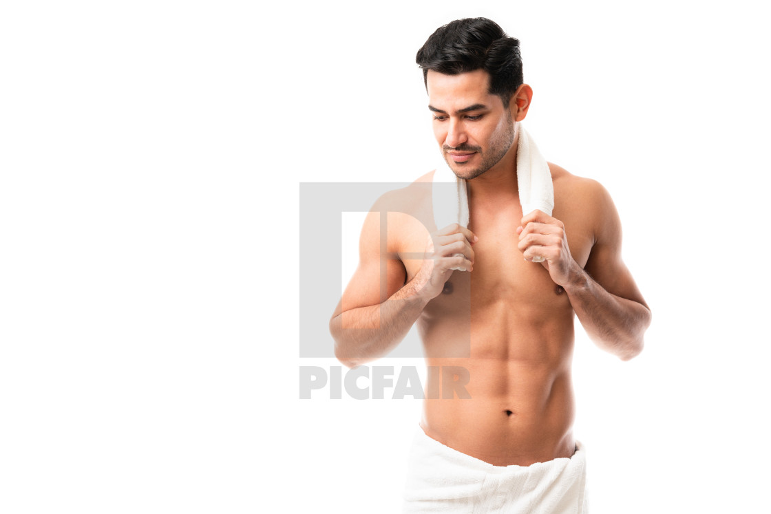 """Attractive latin man after bath in towel"" stock image"