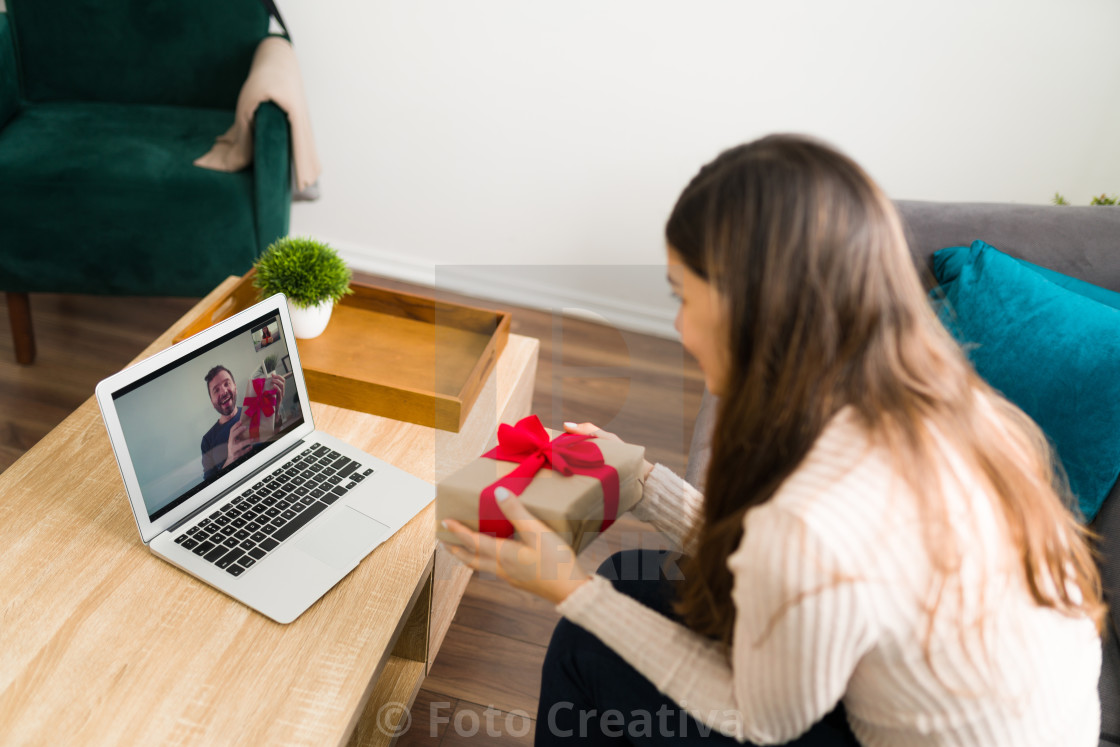 """Married couple during a romantic internet date"" stock image"