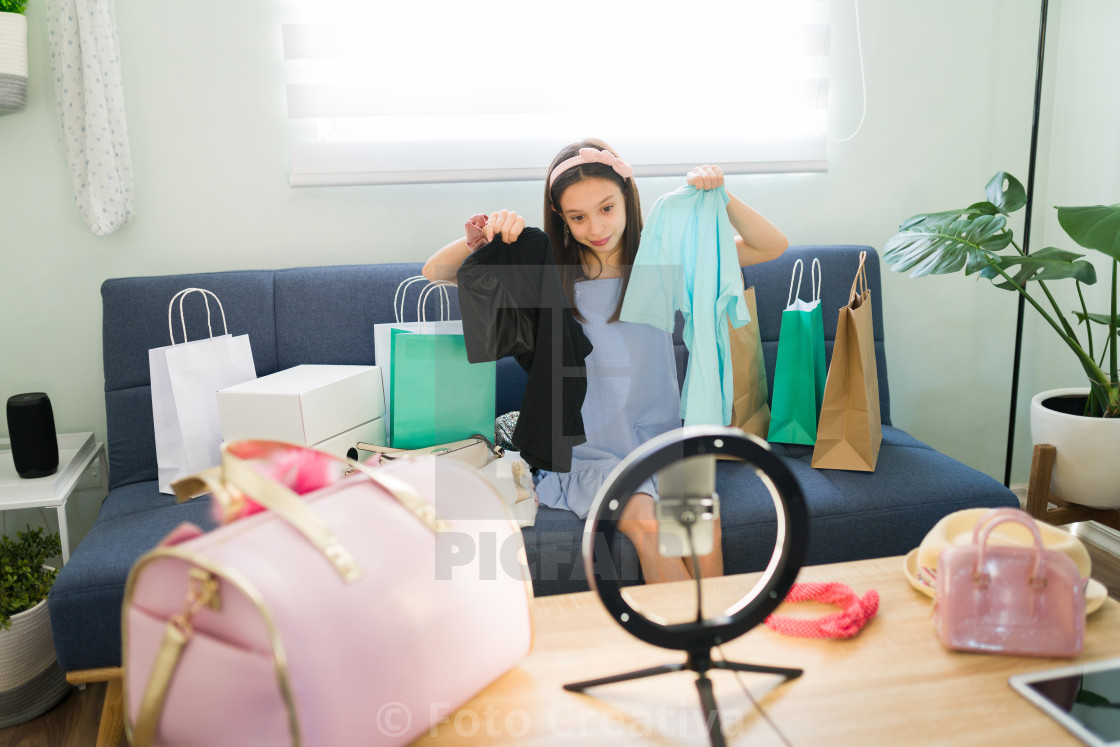 """""""Pretty girl showing her stylish modern clothing"""" stock image"""