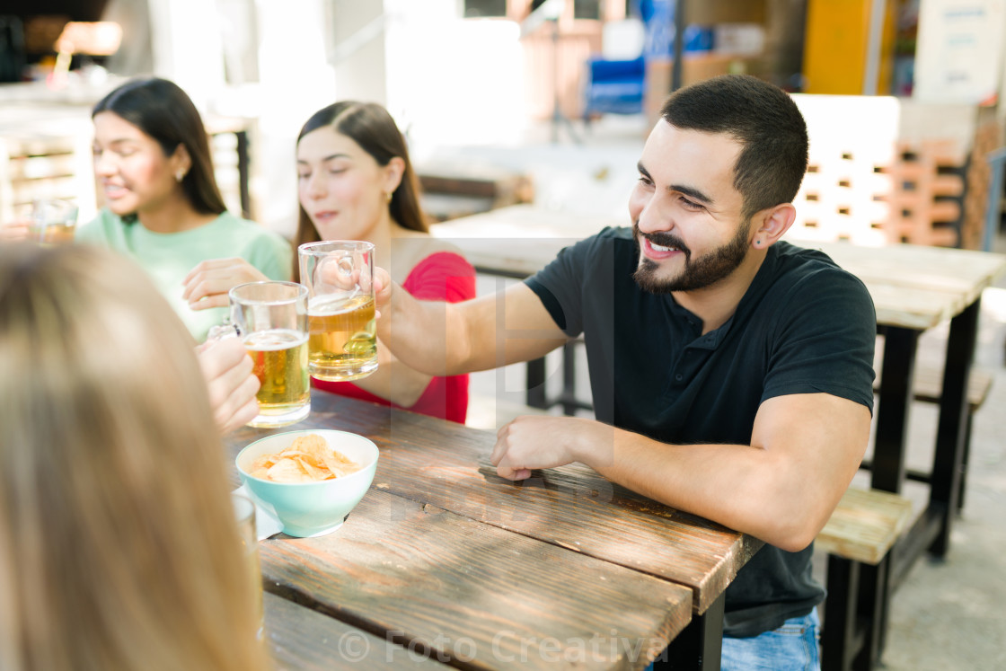 """""""Celebrating and toasting with my best friends"""" stock image"""