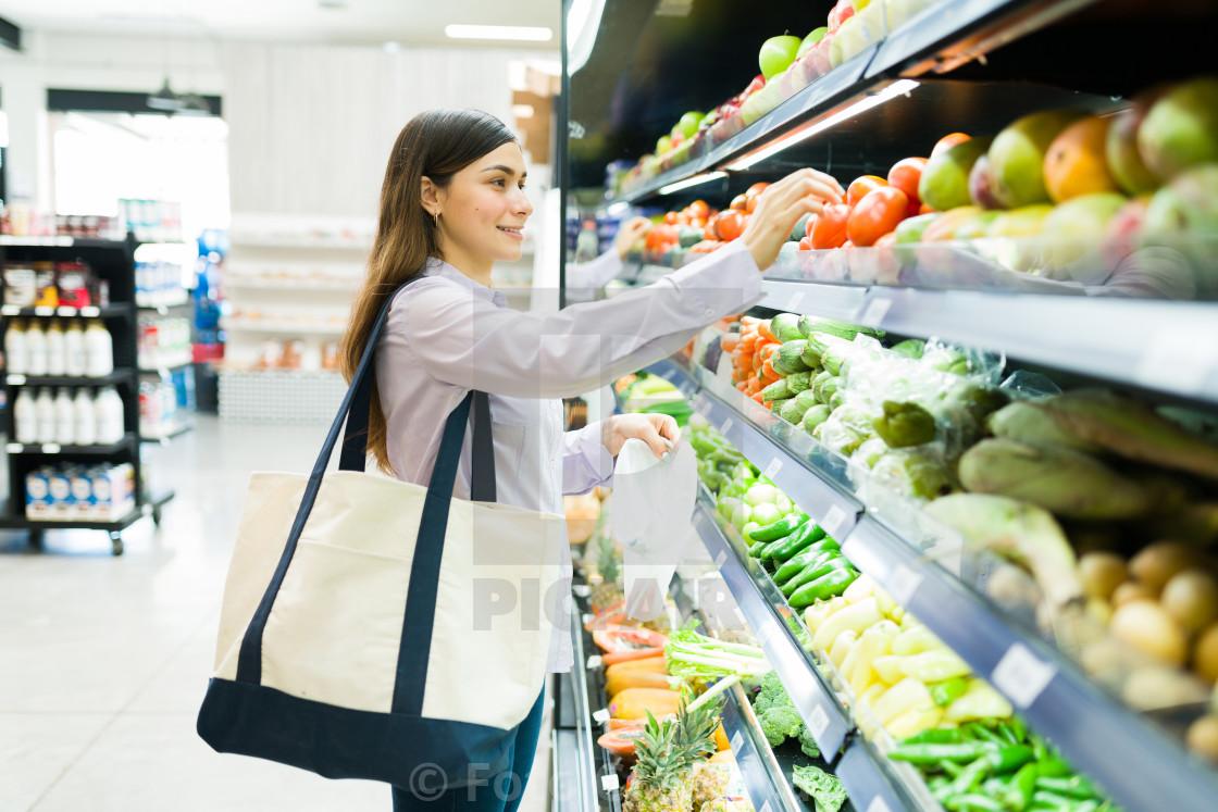 """""""I like to buy fresh produce at the supermarket"""" stock image"""