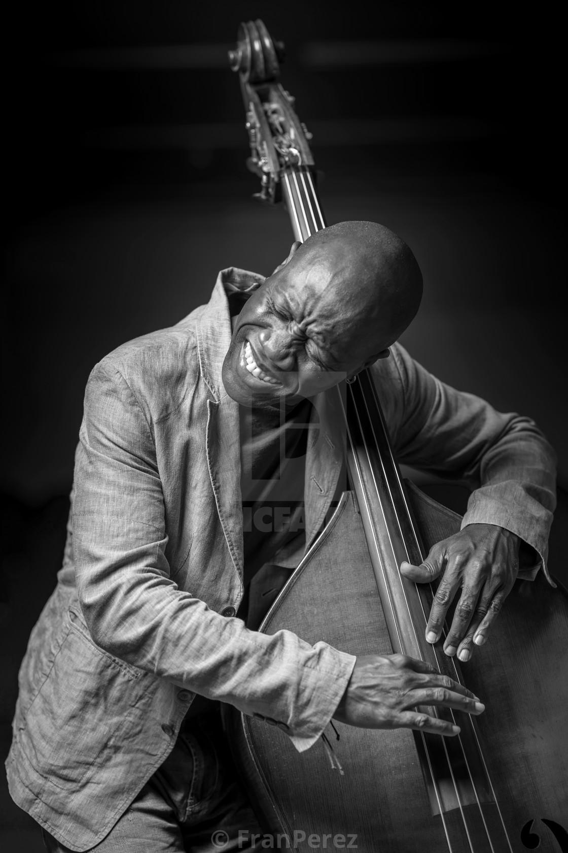 """Musician playing bass"" stock image"