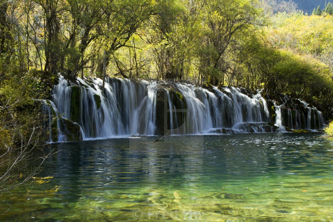 """""""Gigantic Waterfall in China Jiuzhaigou"""" stock image"""