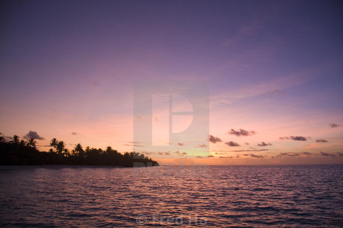"""""""Beautiful purple sunset in Maldives"""" stock image"""