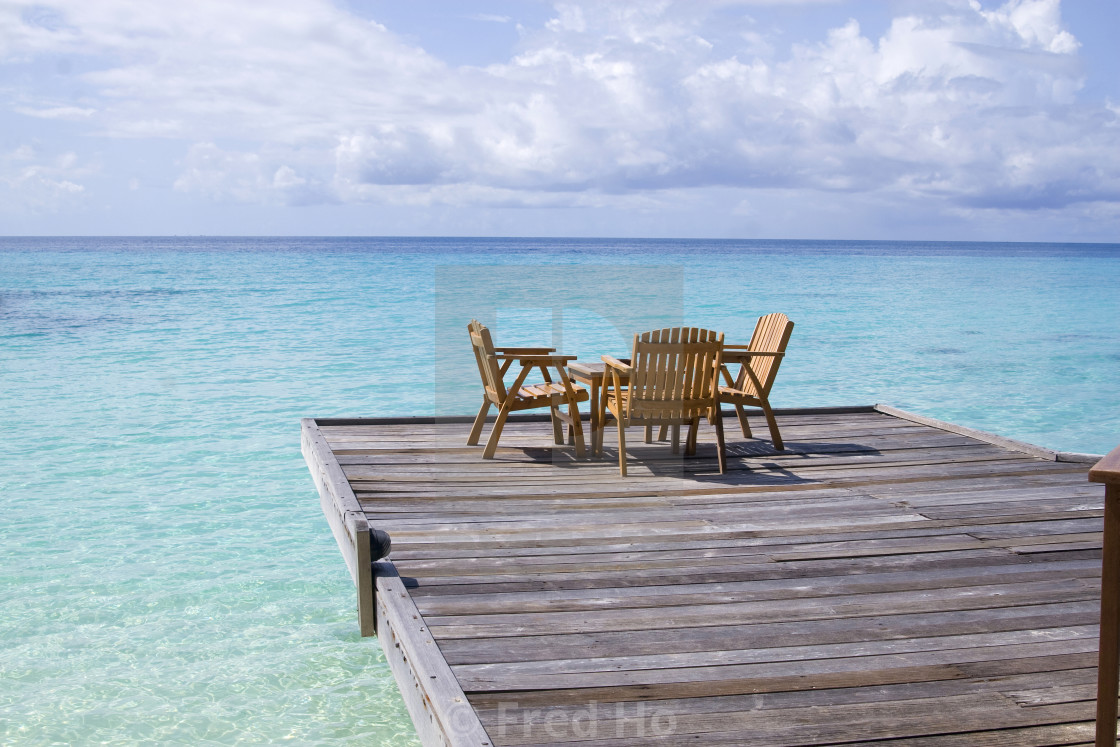 """Cafe on the beach in maldives"" stock image"