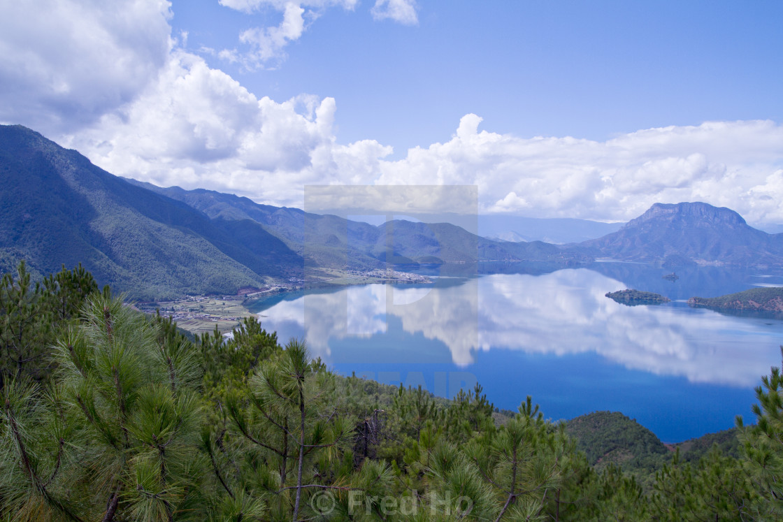 """The enchanting scenery of Lugu lake"" stock image"