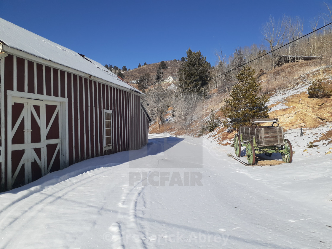 """The wood shaft house @ The Becker Bates Mine Central City Colorado USA"" stock image"
