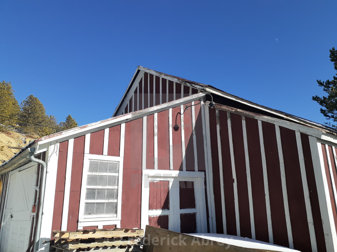 """The Wood Shaft House @ The Becker Bates Mine Central City Colorado"" stock image"
