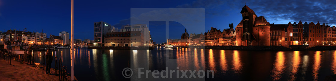 """High resolution night panorama of Gdansk, Poland."" stock image"