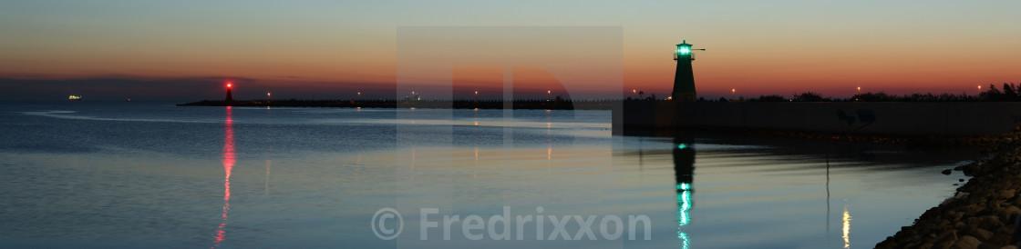 """High resolution sunrise panorama of port of Gdansk, Poland."" stock image"