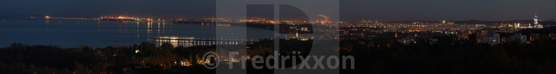 """""""High resolution night panorama of Sopot and Gdansk, Poland."""" stock image"""