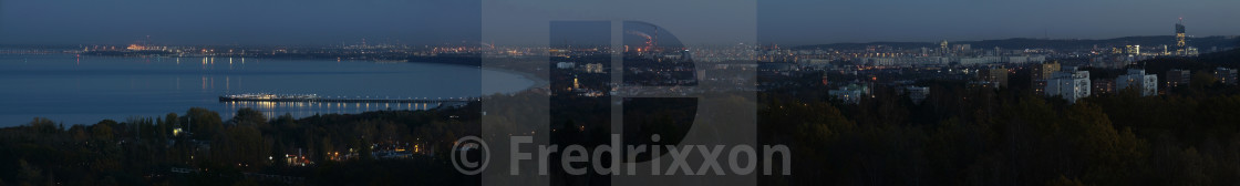"""""""High resolution evening panorama of Sopot and Gdansk, Poland."""" stock image"""