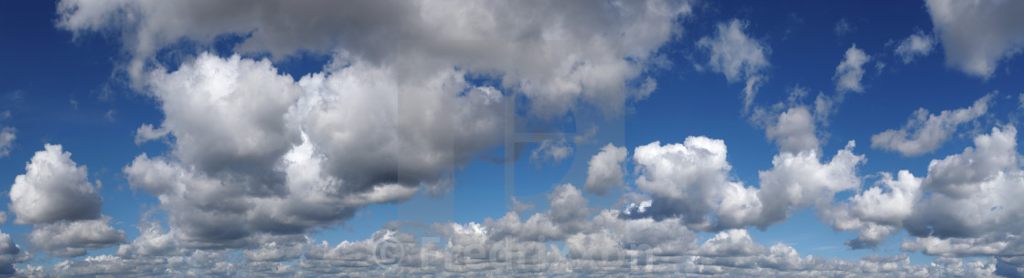 """""""High resolution blue summer sky with white cumulus clouds."""" stock image"""