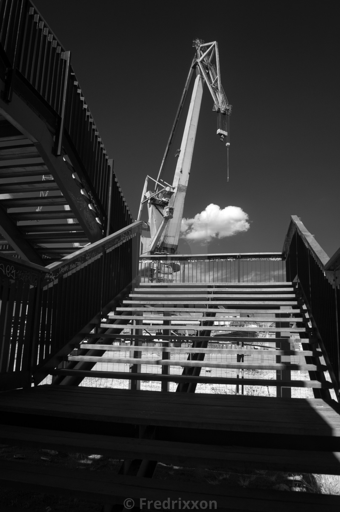 """Industrial landscape - cranes in shipyard."" stock image"