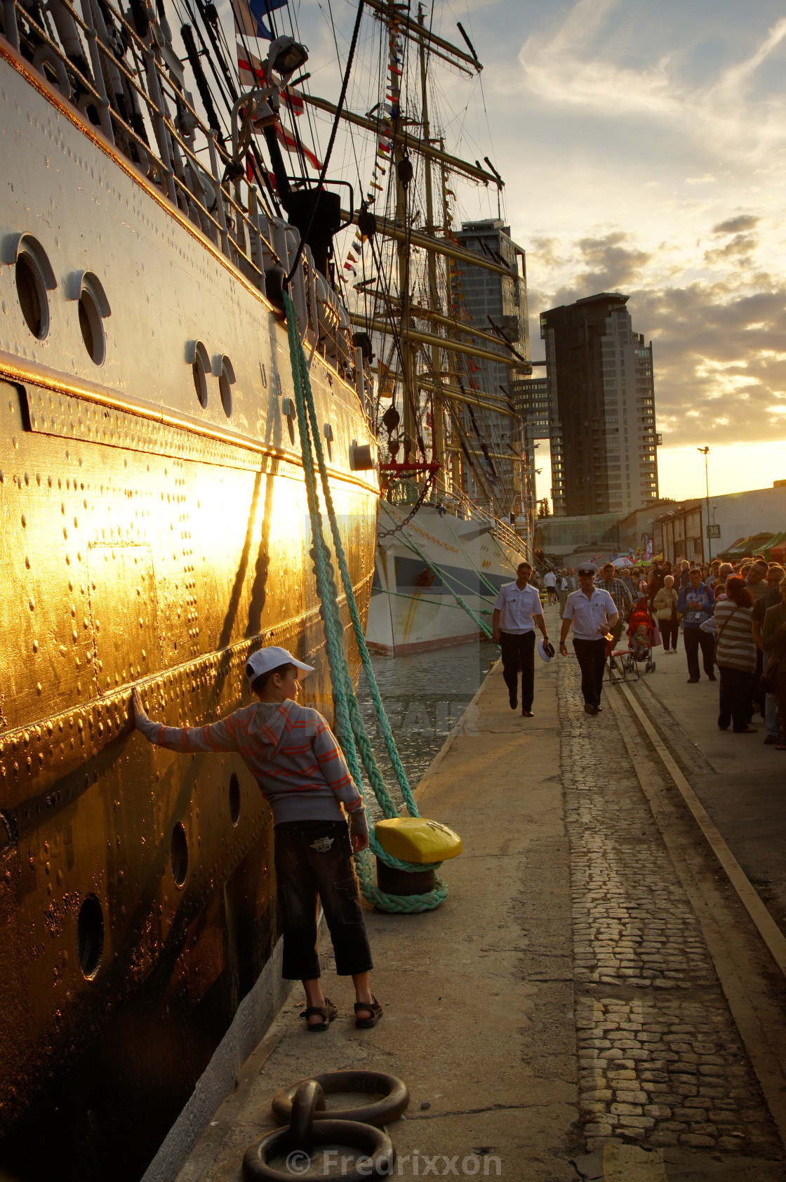 """""""People visiting russian ships Sedov and Mir."""" stock image"""