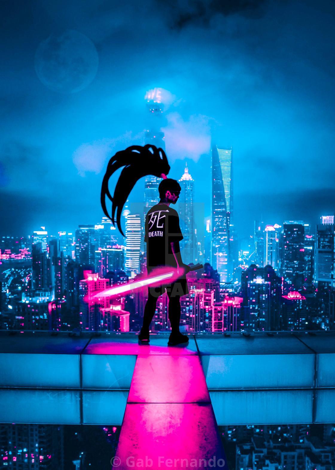 """Neon Lights Silhouette"" stock image"