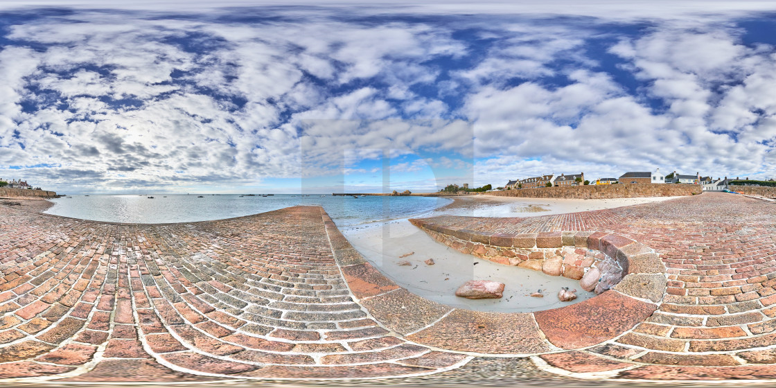 """360 degree equirectangular image of La Rocque, Grouville, Jersey, Channel Islands"" stock image"
