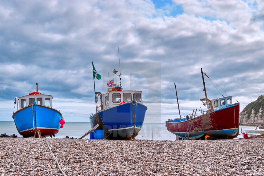 """Fishing boats on Beer Beach"" stock image"