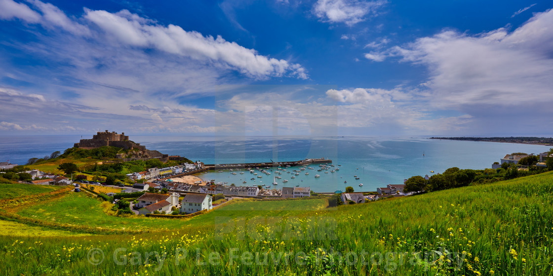 """Gorey Castle, Jersey, Channel Islands."" stock image"