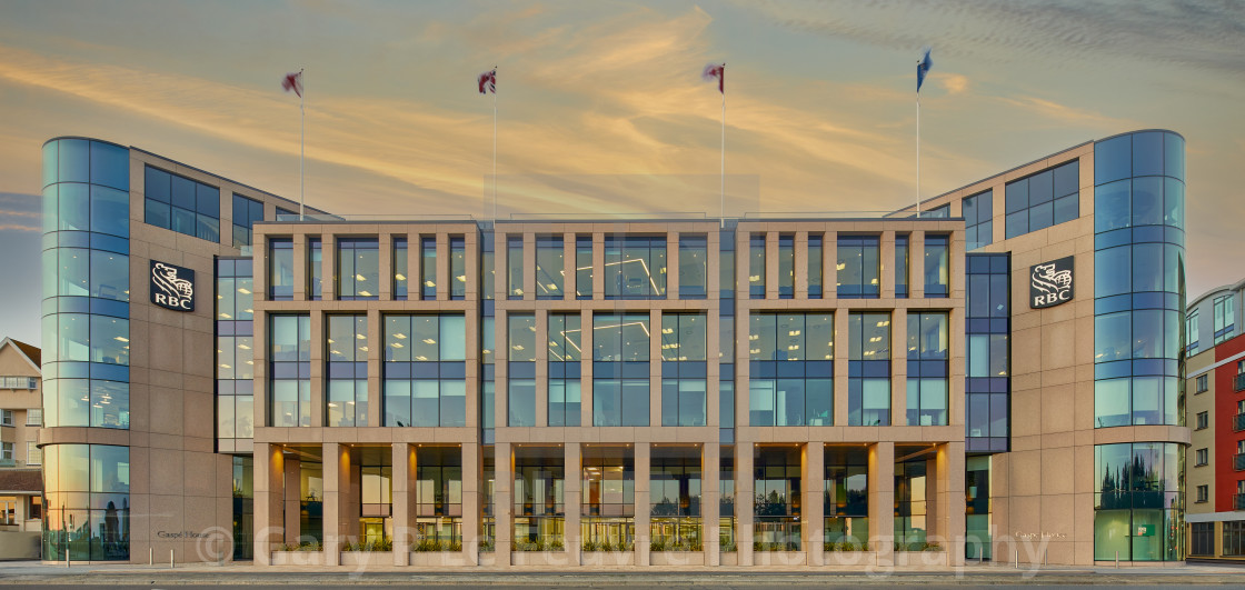 Image of office block, St Helier, Jersey CI .Jersey is an off-shore finance centre providing financial services . 3 May 2021- Editorial Use Only