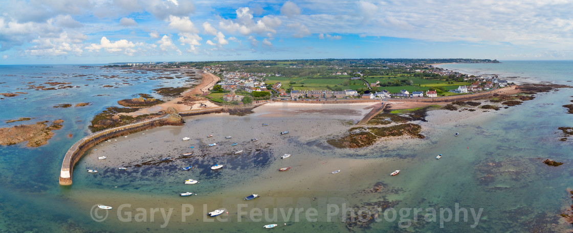 """""""Panoramic image of La Rocque Harbour"""" stock image"""