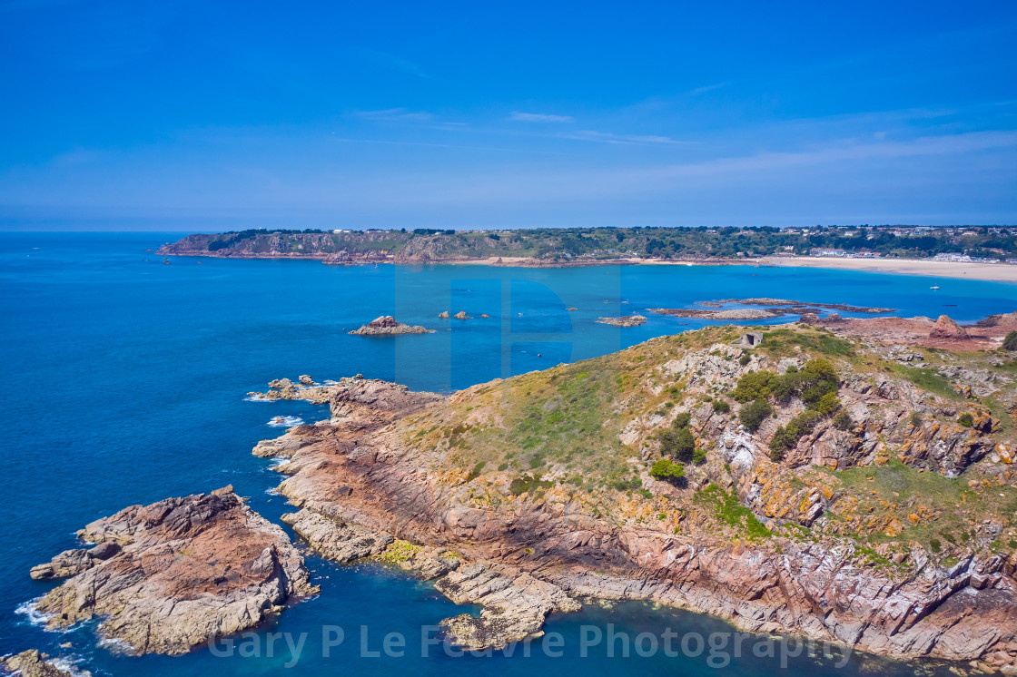 """""""St Brelades bay from the Eastern end of the bay"""" stock image"""