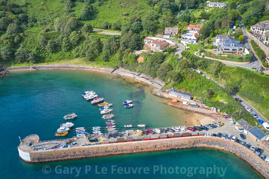 """""""Aerial Drone image of Bonne Nuit Harbour"""" stock image"""