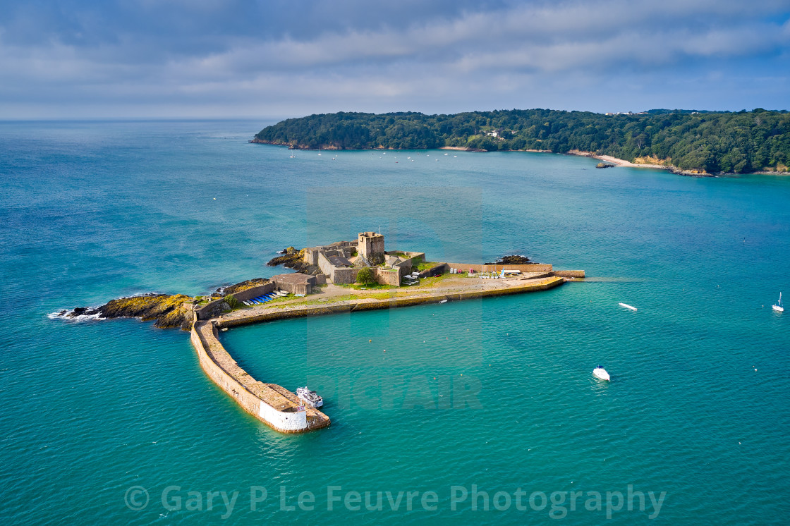 """""""Aerial drone image of St Aubn's Fort at high tide in the sunshine. Jersey Channel Islands"""" stock image"""