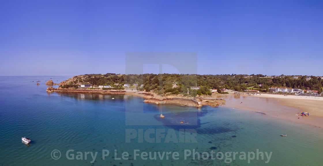 """Panoramic airial image of St Brelades Bay"" stock image"