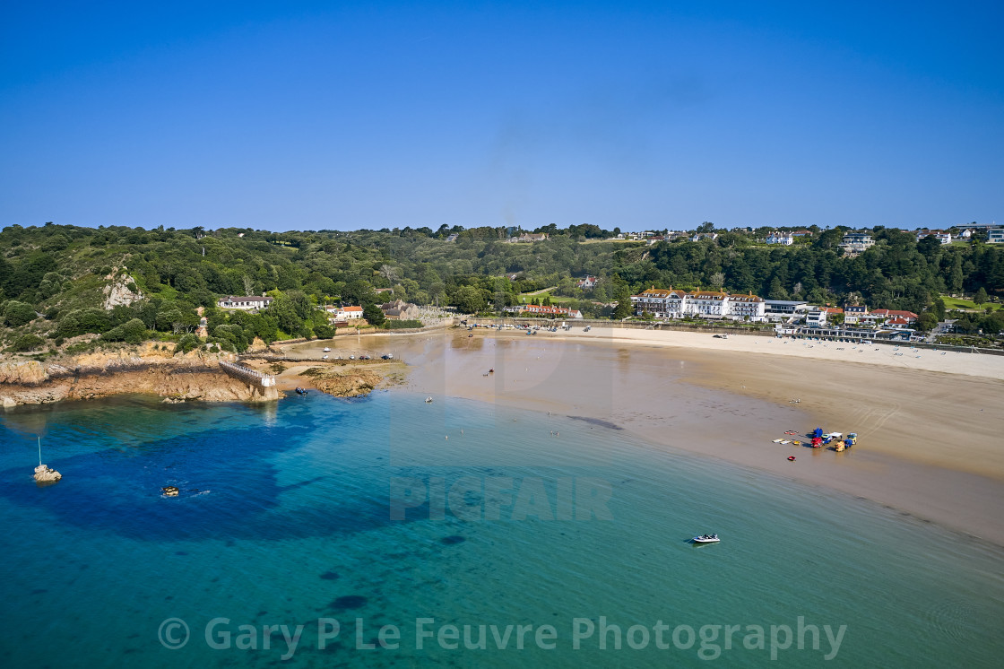 """""""Aerial drone image of part of St Brelades"""" stock image"""