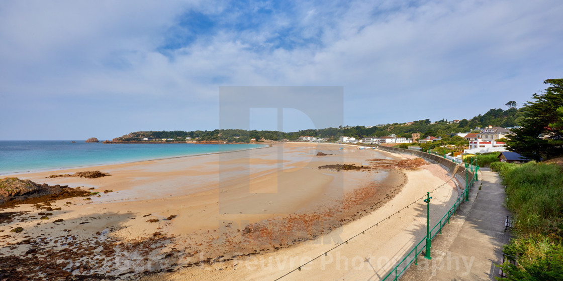 """Panoramic image of St Brelades Bay at half tide"" stock image"