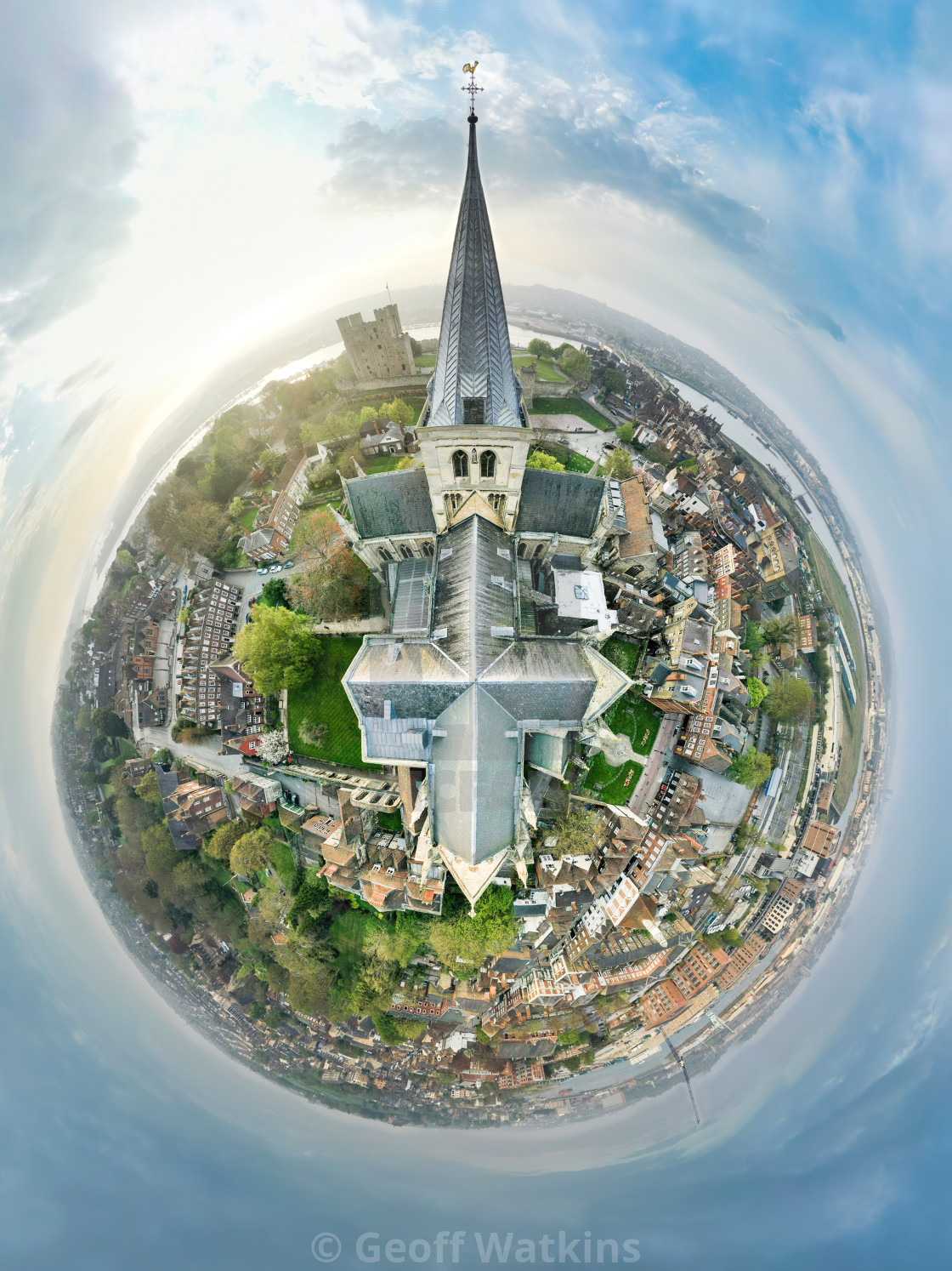 """""""Rochester Cathedral tiny planet"""" stock image"""