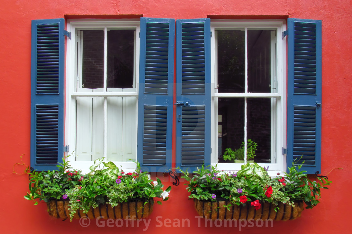 """""""Blue Shutters"""" stock image"""