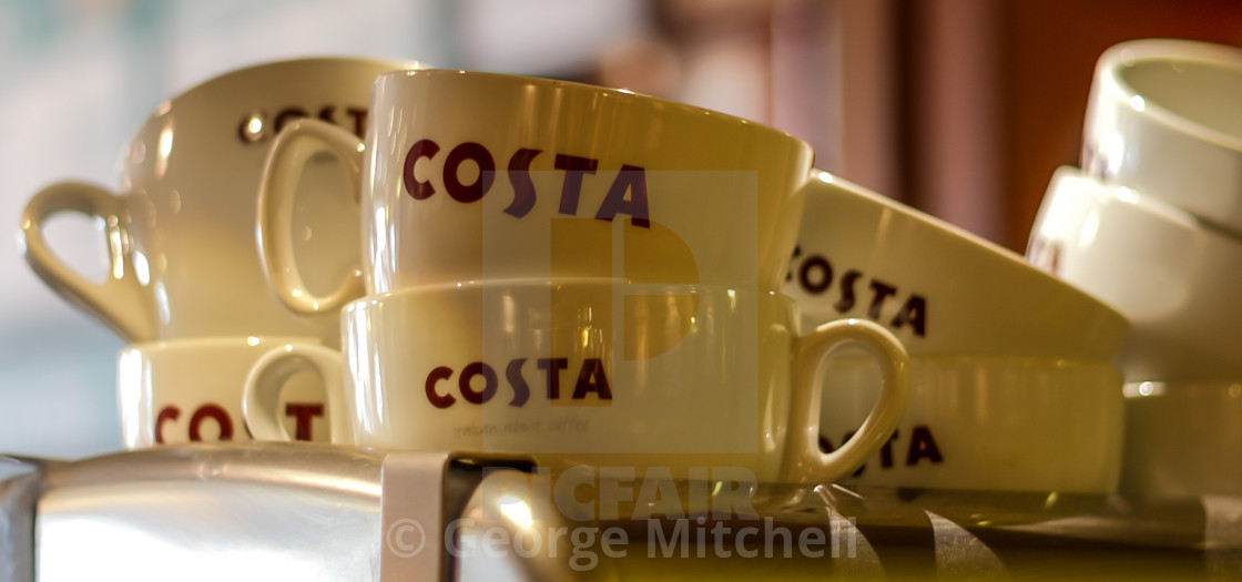 """""""Coffee cups in Costa Coffee Shop"""" stock image"""