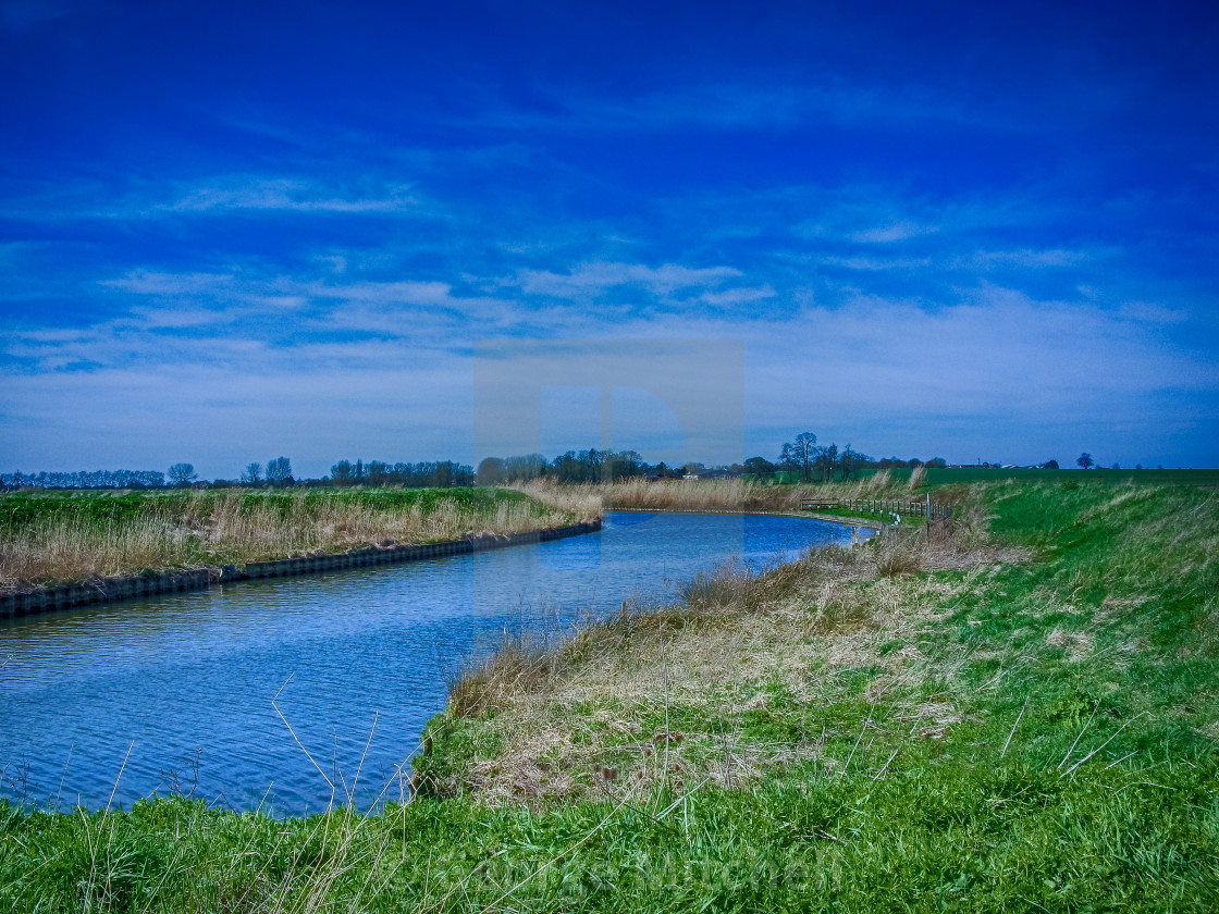 """""""The Old River West in The Fens, East Anglia, UK"""" stock image"""