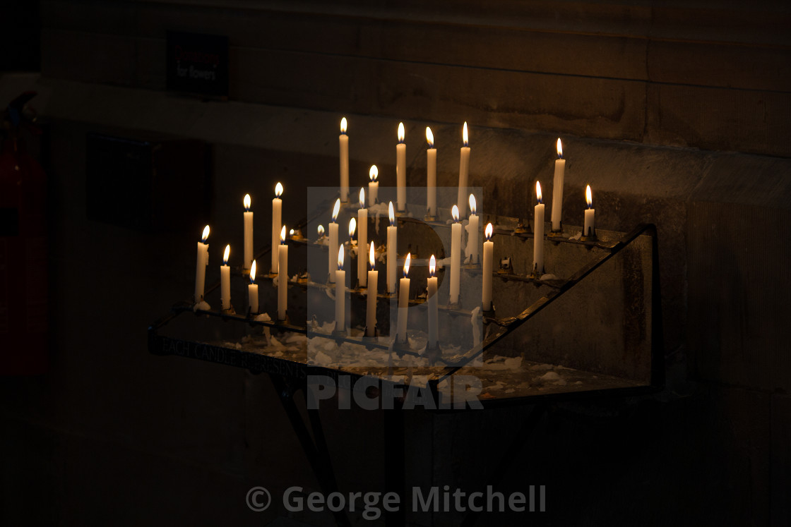 """""""Church candles in Hereford Cathedral"""" stock image"""