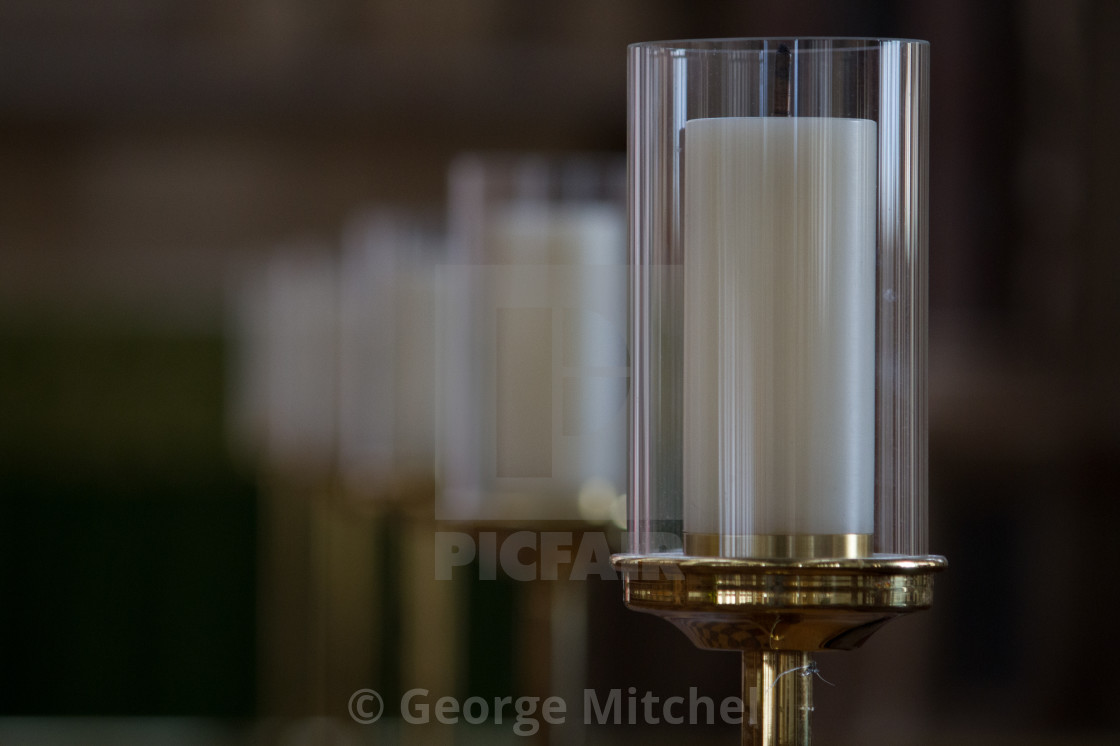 """""""Display candle in glass case"""" stock image"""