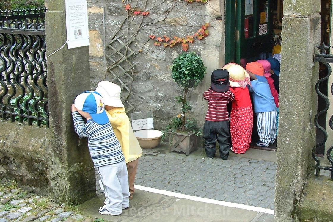 """Models of children outside store in Northeast UK"" stock image"