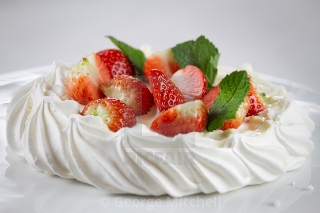 """Pavlova with meringue and fruit"" stock image"