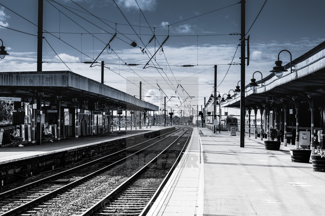 """Railway platform at Ely Station"" stock image"