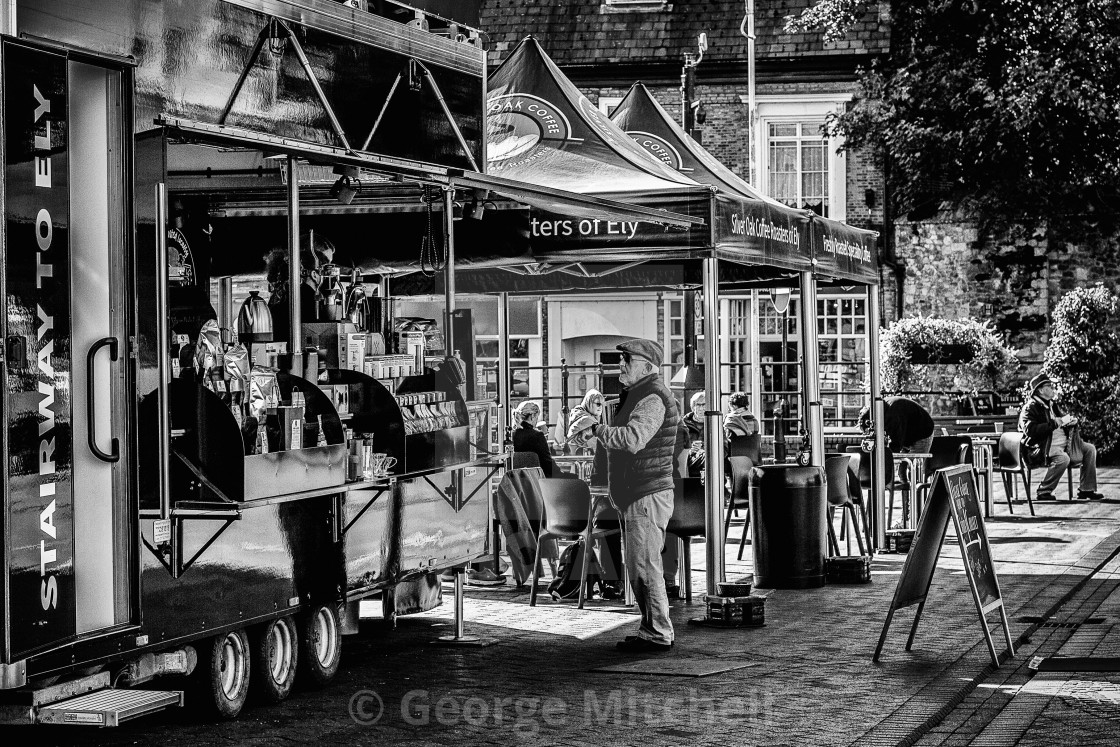 """""""Coffee truck, Ely marketplace"""" stock image"""