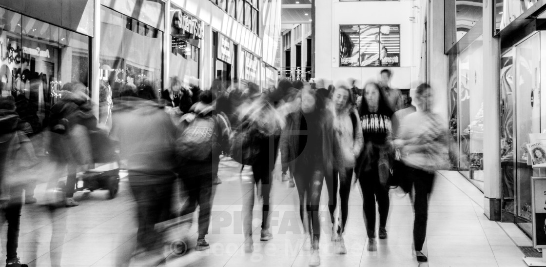 """""""Shopping in Grand Arcade, Cambridge"""" stock image"""
