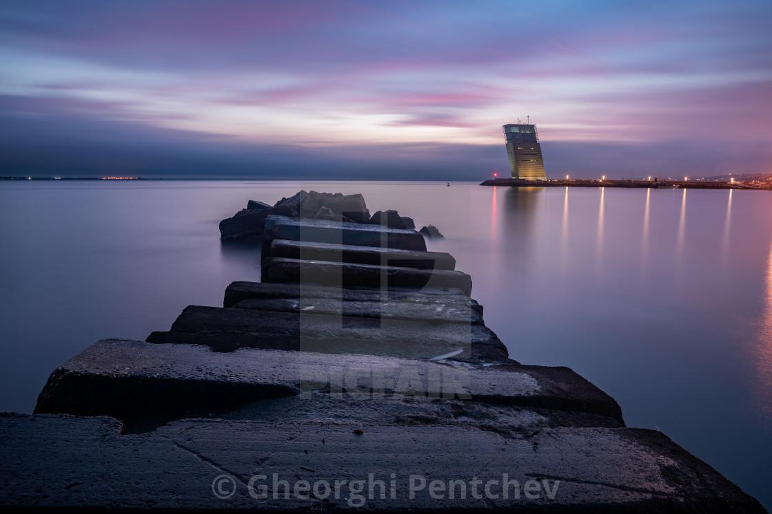 """Seascape at sunset over the Tagus estuary, Lisbon, Portugal"" stock image"