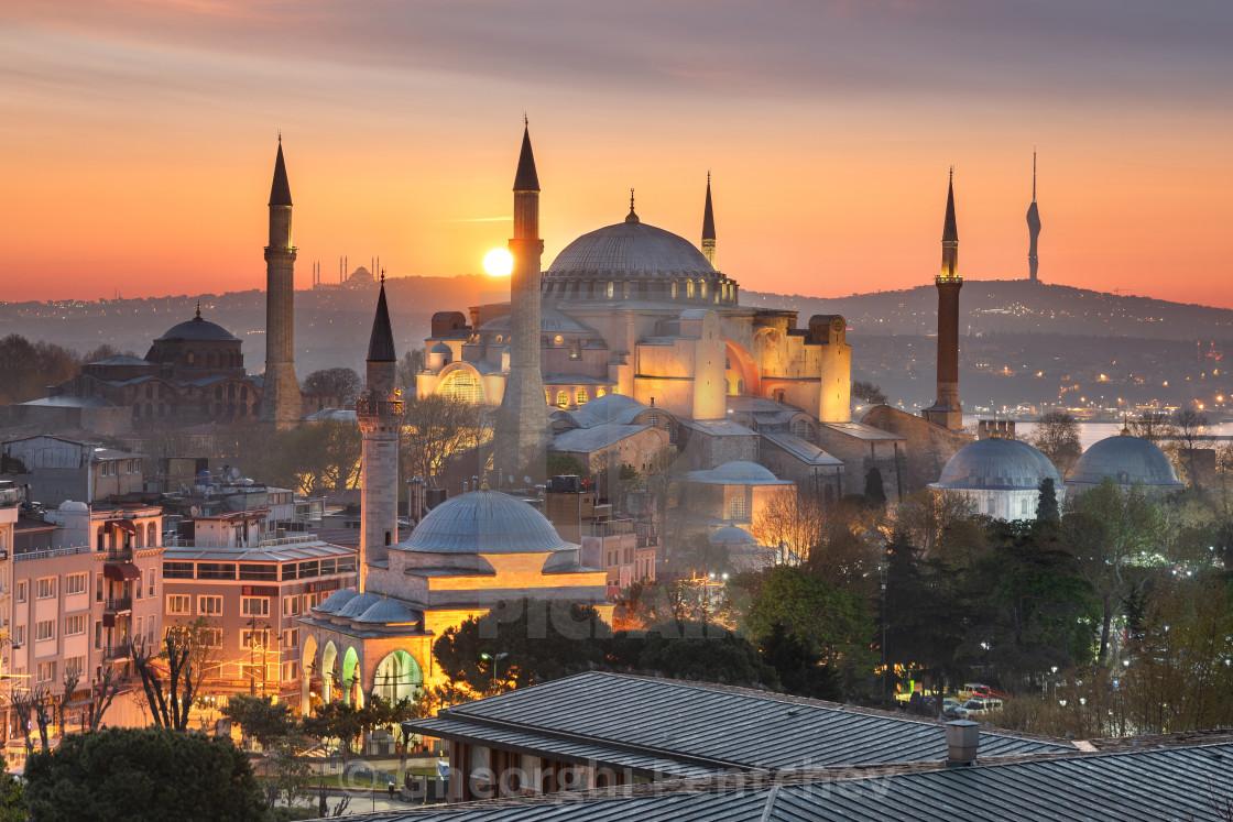 The majestic Hagia Sophia taken at sunrise in Istanbul, Turkey